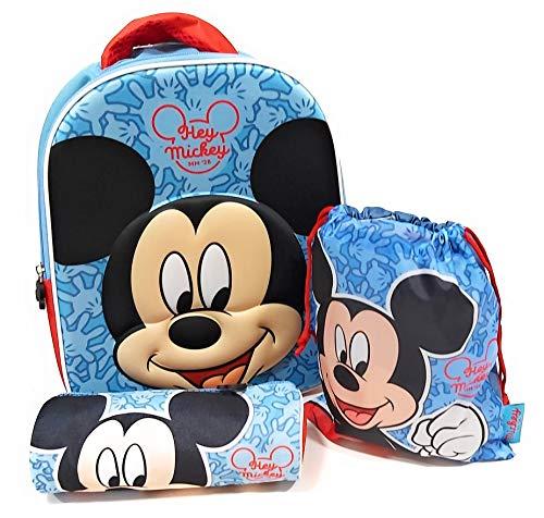Mochila Mickey Mouse Disney 3D Infantil para niños (32 cms) + Estuche Mickey Mouse Portatodo + Bolsa Mickey Mouse para Merienda