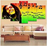 GDPOOTREE 5 Pieces Pictures Home Decor Modular Canvas Wall Art Bob Marley Painting for Living Room Music Poster Bedroom Poster Size No Frame