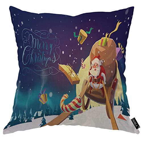 EKOBLA Santa Claus Throw Pillow Covers Sleigh Village Sticker Candy Magic Sky Snowing Polar Snowflake Decorative Square Cushion Case for Merry Christmas Home Decor Cotton Linen 18x18 Inch