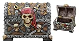 "Ebros Large Caribbean Pirate Marauder Skull With Criss Cross Blades Treasure Chest Box Jewelry Box Figurine 7.25""Long"