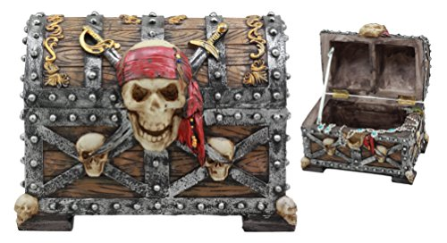 Ebros Large Caribbean Pirate Marauder Skull With Criss Cross Blades Treasure Chest Box Jewelry Box Figurine 725Long
