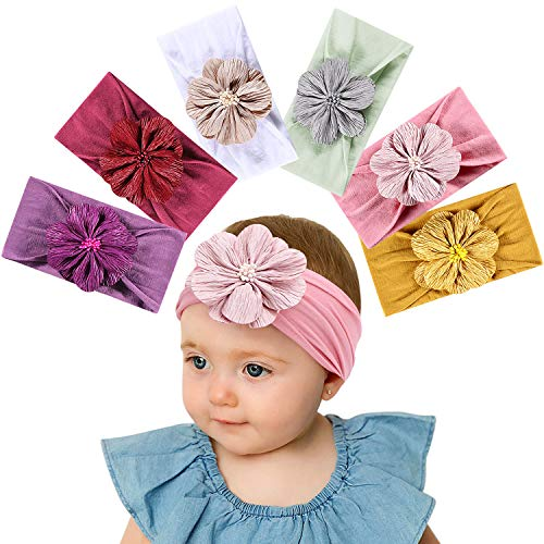 Tacobear Haarband Baby Stirnband Baby Mädchen elastische Haarband Bowknot Kopfband Turban Stirnband Schleife Baby Haarschmuck für Baby Kleinkinder (6 Blume Baby Stirnband)