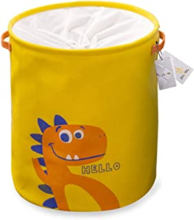 Znvmi Canvas Kid s Storage Basket Nursery Bin Toy Organizer Large Collapsible Lovely Laundry Hamper with Drawstring Yellow Dinosaur