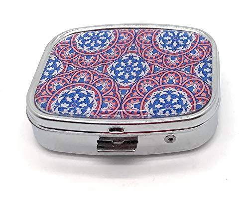 MovilCom® Pastillero diario de bolsillo organizador 2 compartimentos, pastillero organizador pastillas toma diaria, caja medicamentos (mod.653203)
