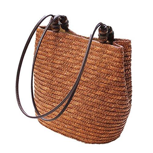 TOOGOO Bolso de paja de punto Verano Bohemia Bolsos de mujer de moda Rayas Bolsos de hombro Bolso de playa Bolsas grandes (Marron)