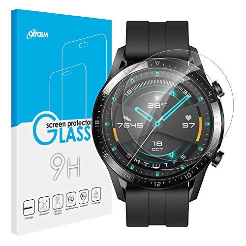 Olycism Protector de Pantalla Compatible para Huawei Watch GT 2 46mm (3-Pack) HD Full Cristal Vidrio Templado Definición 9H Dureza Anti-arañazo Burbujas Ultra Resistente Vidrio Cristal Templado