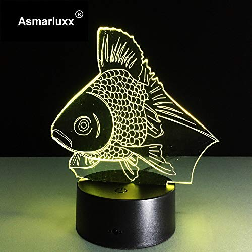 Gold Fish Toys Xmas Night Light 3D LED Lámpara de mesa niños regalo de cumpleaños decoración de la habitación junto a la cama