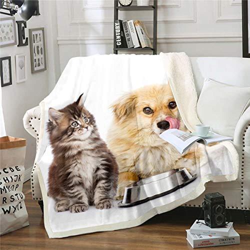 Manta de forro polar con estampado de gato marrón para niños, niñas y adultos, bonita manta de felpa, con diseño de gato, para sofá cama, tamaño King de 2017 x 224 cm