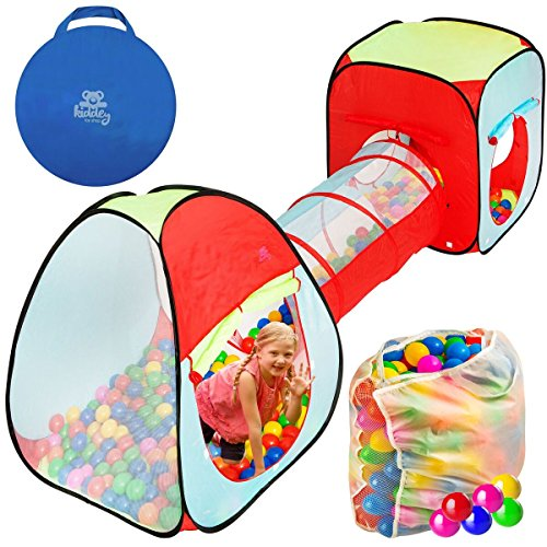Kiddey 3pc. Kids Ball Pit With 200 Balls, See Through Play Tent Tunnel Set– Crush Proof Balls - Great Gift for Boys & Girls, Toddlers & Babies – Indoor/Outdoor, Carrying Case for Balls and Ball Pit
