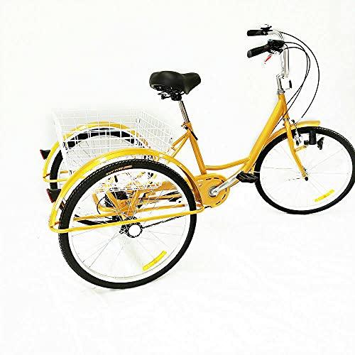 Bicicletta triciclo da 24 pollici, per adulti, 6 marce, con cestino, 3 ruote, per adulti, per adulti, Tricycle Comfort, per anziani, donne, uomini e donne (giallo)