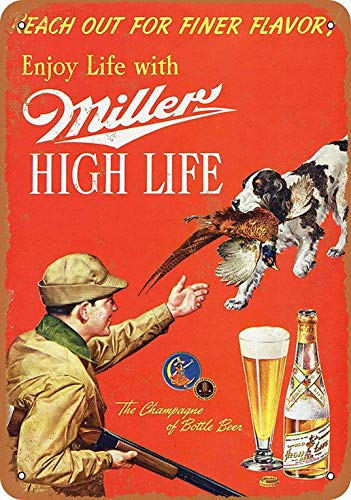 Lplpol Aluminum Metal Sign Miller High Life Beer Vintage Tin Sign Poster Plaque Sign Decor for Home Bar Diner Pub 10x14 Inch