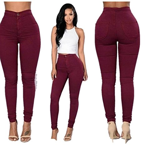 Denim Jeans,Morecome Fashion Women Multi Colors Girl Casual Jeans Pants (M, Red)