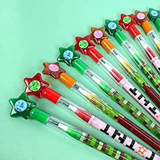 24 Pcs Pixel Miner Themed Multi Point Pencils Party Favor Mine Pixel Craft Classroom Rewards Prizes Goody Bag Treat Bag St...