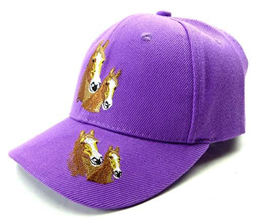 Evil Wear Casquette de protection solaire pour enfant - Motif cheval - Violet clair