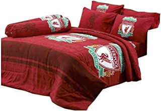LFC Liverpool Fc Football Club Soccer Team Official Licensed Bed Sheet Set, Fitted Bed Sheet, Pillow Case, Bolster Case (Not included Comforter) DLC036 Set A (Twin 42