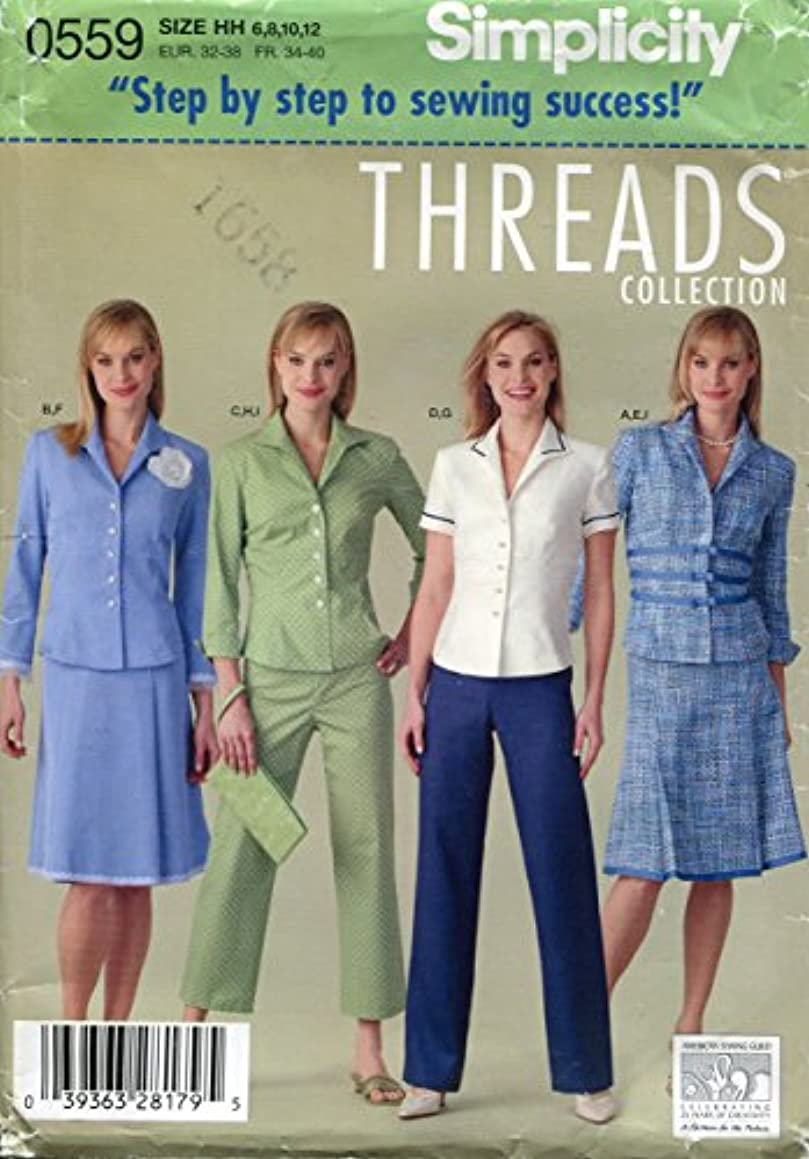 Simplicity Threads Collection Pattern 0559 Misses' Pants in Two Lengths, Skirt, Jacket and Pants, HH (6-8-10-12)