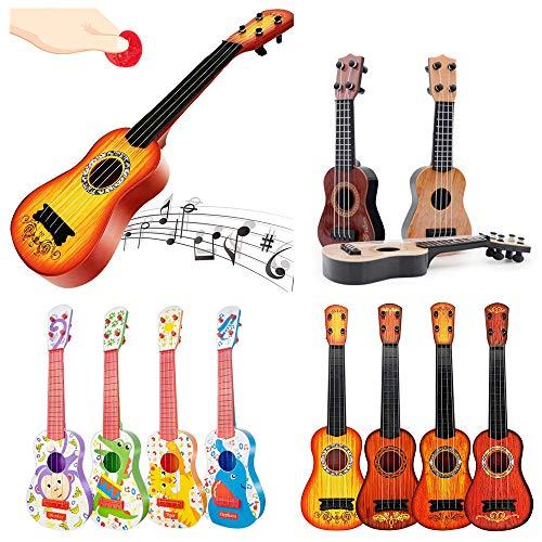 KLOZ Mini Viersaitengitarre Kindererleuchtung Musikinstrument Gitarrist/Kindergitarre Ukulele Erstes Musikinstrument Kinder Holzspielzeuggitarre/Ukulele Spielzeuggitarre
