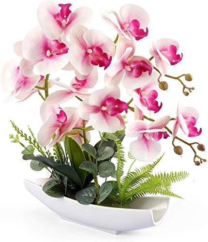 Yobansa Decorativi Real Touch Orchidea Finta Bonsai Fiori Artificiali con Imitazione Vasi da Fiori in Porcellana Phalaenopsis Composizione Floreale per la Decorazione Domestica (Pink 02)