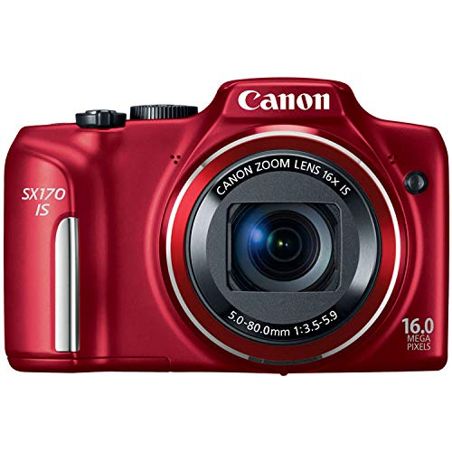 Canon PowerShot SX170 IS 16.0 MP Digital Camera, Red (discontinued by manufacturer) (Renewed)