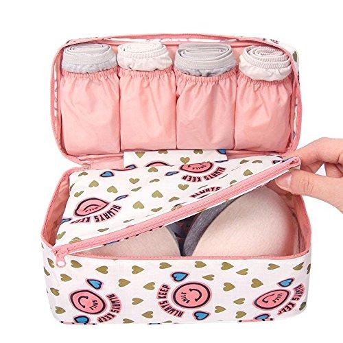 hou zhi liang 1 bolsa de almacenamiento portátil de viaje para sujetador, bolsa organizadora de ropa interior de viaje, bolsa de lencería (sonrisa rosa).
