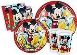 ILS I LOVE SHOPPING Kit Festa Coordinato Tavola Addobbi Party Set Compleanno con 8 Piatti 23cm, 8 Bicchieri e 20 tovaglioli (Mickey Mouse Topolino Playful, Set 8 Persone)