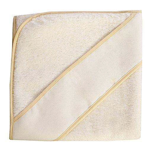 PURALGO-puro algodón. Toalla para bebés de punto de cruz, con gorrito. (blanco/ribete beije)
