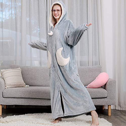 YRTHOR Hombres Mujeres Largo cálido Franela Gruesa Kimono Estrella Luna Albornoz, Bata de baño Azul Marino con Capucha Cremallera Ropa de Dormir Vestido de Noche Vestido,Mujeres Blue Moon,L