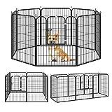 Pawhut Recinto per Cani e per Cuccioli, Recinto Modulare per Cani da Interno ed Esterno in Metallo e Acciaio 8 Pannelli 79x100cm