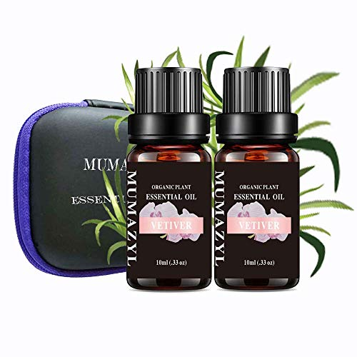 Vetiver Essential Oil Set Organic Plant Natural 100% Pure Vetiver Oil for Diffuser,Cleaning,Home,Bedroom,SPA,Massage,Aromatic,Perfumes,Humidifier,Skin,Soap,Candles 2 Pack 10ml…