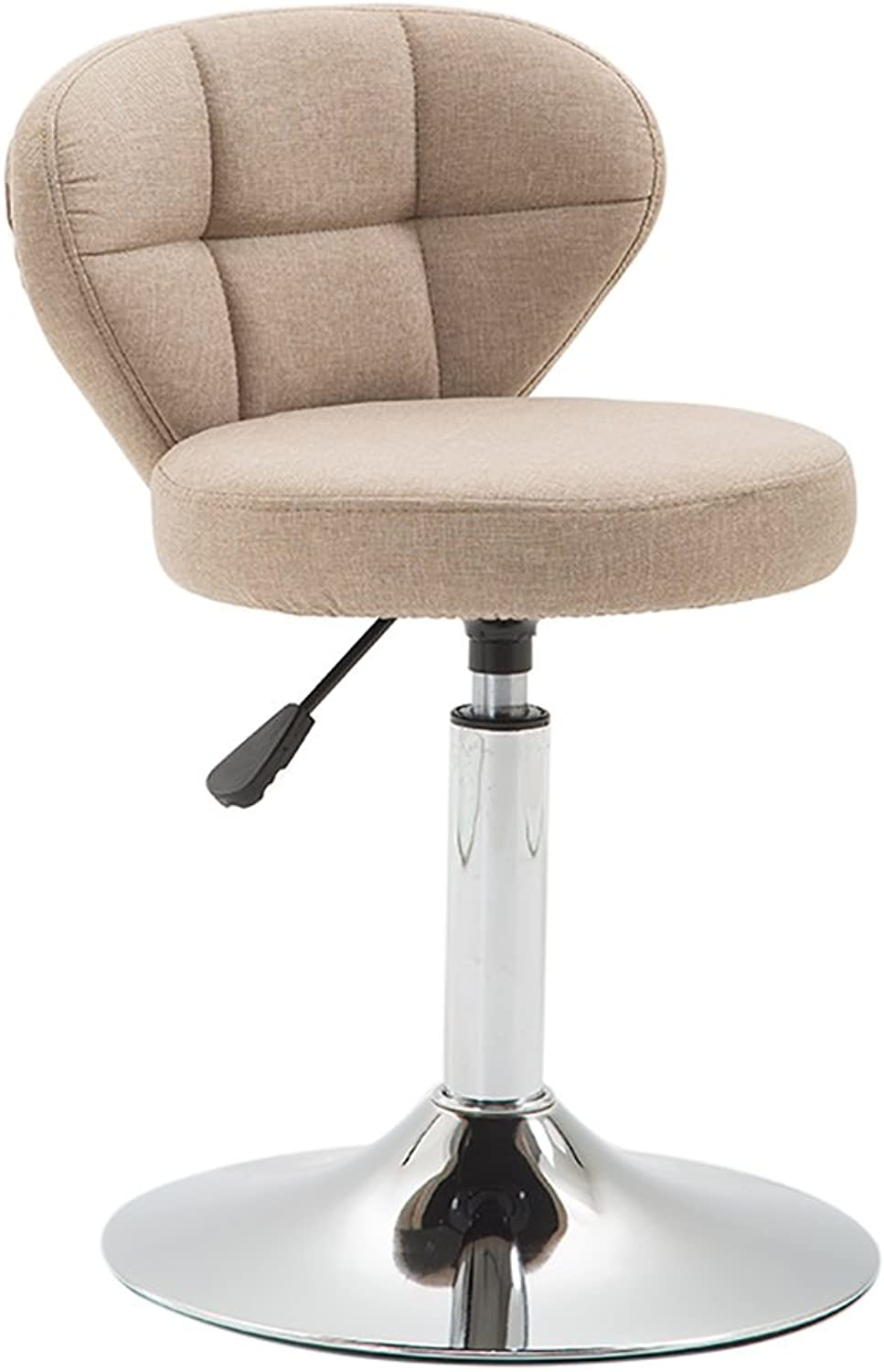 Ghjkl Beauty Roller Stool Swivel Chair,Adjustable Height,Cotton and Linen,360 Degree redation,10 cm Cushion, 4 Colours -by TIANTA (color   Khaki, Size   42-56cm)