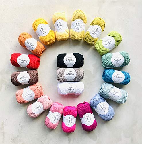 DROPS Design 1kg (20 x 50g) 4ply 100% Combed Egyptian Cotton Yarn Pack Safran - Oeko Tex Standard...
