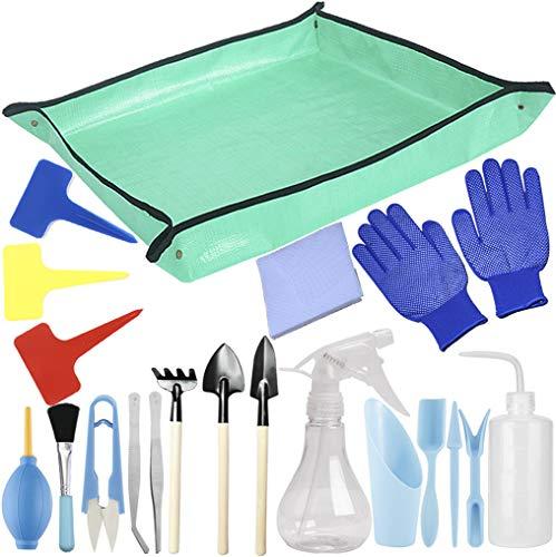 Kit de herramientas de trasplante de suculentas 23 piezas Mini juego de herramientas de mano de jardín para pequeñas plantas de interior y cuidado de plantas de jardín de hadas en miniatura