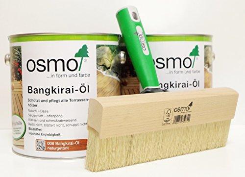 OSMO AB.Bauconcept GbR© Kombiangebot Bangkirai-Öl 006 5 Liter Fußbodenstreichbürste 220 mm