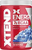 XTEND Energy BCAA Powder Blue Raspberry | 125mg Caffeine + Sugar Free Pre Workout Muscle Recovery Drink with Amino Acids | 7g BCAAs for Men & Women | 30 Servings | Packaging May Vary