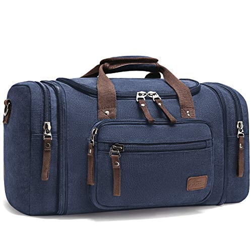 Canvas Duffle Bags, Fresion New Two Side Pockets for Extensions for Unisex Weekend Daypack Large Holdall Travel Bag (Blue 53x30x25)