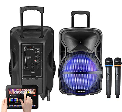 "Vocal-Star Karaoke Machine & PA Speaker With LED Light Effects, Bluetooth, MP3, 2 Wireless Microphones 12"" 300w (CX12)"