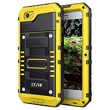 Mitywah Waterproof Case for iPhone 7 iPhone 8 Heavy Duty Military Grade Armor Metal Case Full Body Protective Rugged Shockproof Thick Dustproof Strong Case for iPhone 7/8 Yellow