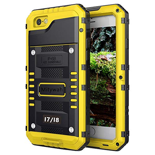 Mitywah Waterproof Case for iPhone 7, iPhone 8 Heavy Duty Military Grade Armor Metal Case, Full Body Protective Rugged Shockproof Thick Dustproof Strong Case for iPhone 7/8, Yellow