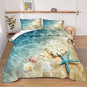 Beach Comforter Set Queen Ocean Bedding Set Teal Ocean Beach Starfish Pattern Ocean Themed Comforter Set for Boys Girls 1 Comforter 2 Pillowcases  Ocean Queen