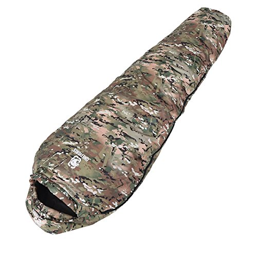 OneTigris Light Patrol Down Sleeping Bag, 0°C ~ 20°C/32°F ~ 68°F Mummy Sleeping Bag for Camping Hiking 3.0lb