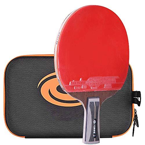 Lerten Palas de Ping Pong,Bate de Tenis de Mesa Raqueta de Carbono Profesional de 14 Estrellas con Bolsa de Almacenamiento PortáTil,para Torneos de Entrenamiento/A/Mango corto