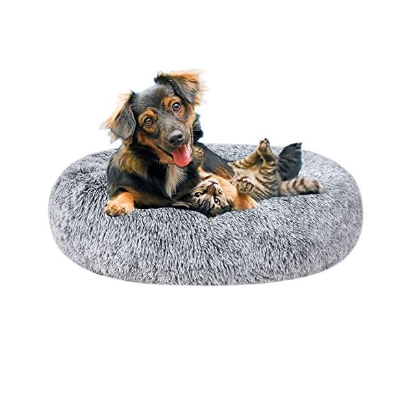 Poohoo Calming Faux Fur Donut Cuddler Dog Bed,Washable Round Cat Bed Pillow Cuddler Gradient Color(23″/30″) for Small Medium Dogs