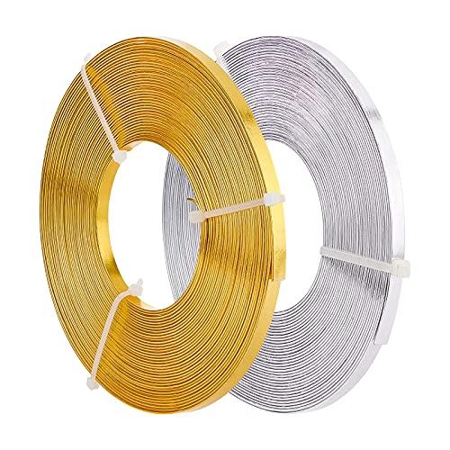 BENECREAT Alambre plano para joyas, 20 m, 5 mm de ancho, flexible, plata y oro, para manualidades, para bisel, pendientes, anillos
