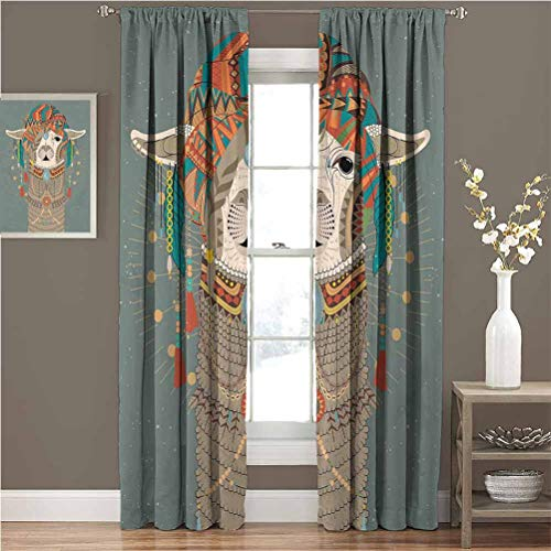 Llama Curtains and rods Set Colorful Headwear Wearing Llama with Accessories Earrings Necklace Abstract Animal The Best Choice for Bedroom and Living Room W96 x L84  Multicolor
