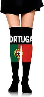 Jesse Tobias, Portugal Flag 1 Calcetines largos hasta la rodilla de invierno para mujer Medias altas