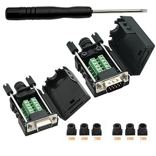 DB9 Breakout Connector DB9 RS232 D-SUB weiblich und männlich Adapter 9-polig Port Adapter auf Terminalstecker-Signalmodul mit Gehäuse (weiblicher Stecker, männlicher Stecker DB9 5+5 mit Gehäuse)