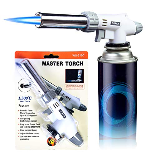 Butane Torch, Ouddy Torch Lighters Professional Chef Blow Torch Adjustable Flame with Reverse Use for BBQ, Baking, Brulee Creme Desserts Blister Card Packaging(Butane not included)