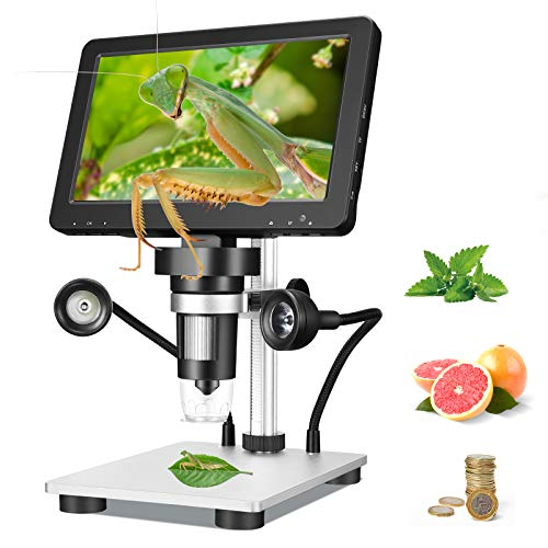 ETE ETMATE Microscopio Digital 2020 Último 12MP DM9 HD Pantalla de 7 Pulgadas 1000X con luz LED para Control Industrial Enseñanza Escolar Evaluación de Joyas Evaluación