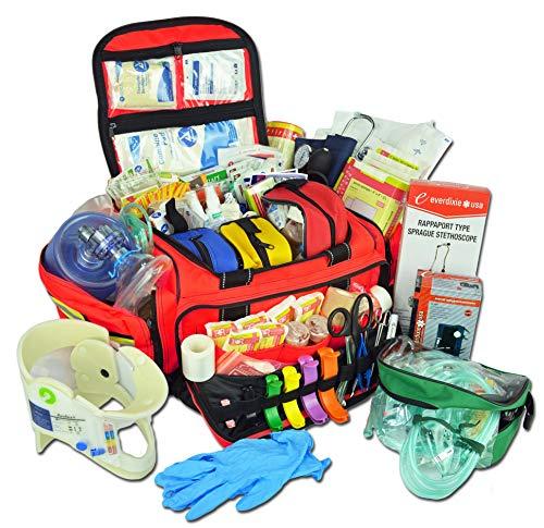 Lightning X Extra Large Medic First Responder EMT Trauma Bag Stocked w/Fill Kit C - RED