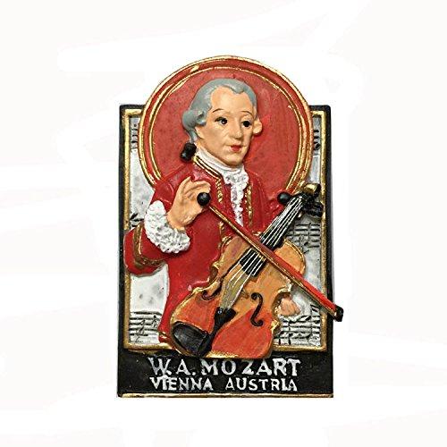 MUYU Magnet Imán de Recuerdo para Nevera con Diseño de Músico Mozart de Austria Viena. Adhesivo Decorativo para el hogar y la Cocina, Imán para Nevera de Austria Viena.